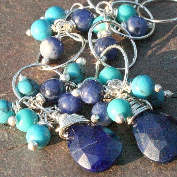 Lapis Turquoise Earrings, Sterling Silver Earrings, Long Blue Cluster Earrings, Lapis, Turquoise, Dangle Earrings by Maggie McMane Designs