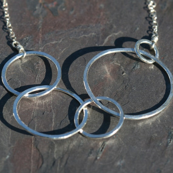 RESERVED Fine Silver Asymmetrical Linked Necklace Metalsmithed III Maggie McMane Designs