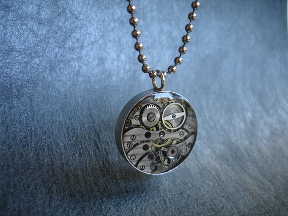 Steel Watch Movement Double-sided Pendant with Rubies