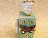 TRAVEL QUEEN - assemblage altered art doll