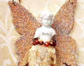 FAITH - Frozen Charlotte Angel Ornament with wings - one of a kind - necklace