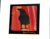 Black Raven Silhouette, Red Variegated Fused Glass/ 10 x 10 Matted and Framed, Original Art, Shipping Included