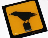 Raven on Post Silhouette, Fused Glass/ 10 x 10 Matted and Framed, Gold and Black, Original Art