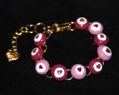 SALE PInk Hearts Glass Bracelet on Gold Metal, Extra Links for Sizing, Shipping Included