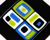 """SALE Retro Design Fused Glass Plate in Black, Green, Blue, and White, 8"""" x 8"""", Food Safe, Shipping Included"""