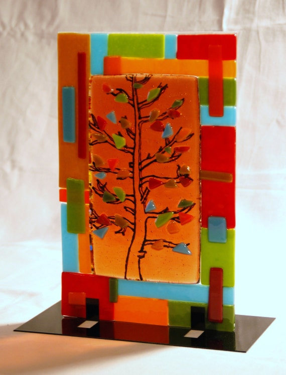 "Amber Tree in Fused Glass Sculpture with Stand, Coral, Red, Green, Aqua, Orange, 10"" x 6.5"""