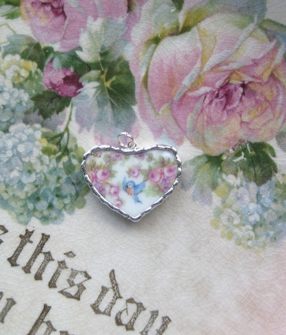 Vintage Shabby Broken China -Tiny Bluebirds - Blue Bird - Roses - Heart Pendant - Necklace