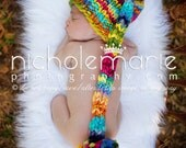 NEWBORN Photography Prop - Baby Knit Hat -  Elf - Multi-Colored Rainbow - Handdyed and Handspun yarn