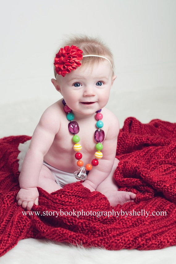Toddler Photography Prop - Chunky Bubblegum Beaded Necklace - Little Girl Jewelry - Princess Prop