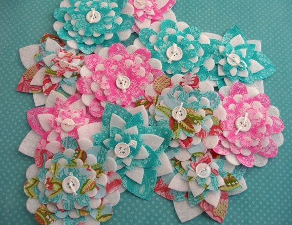 Pink and Lagoon Paisley Bouquet - Fabric and Felt Flowers