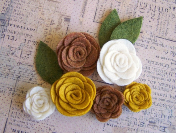Rust, Mustard and Ivory Felt Roses and Leaves