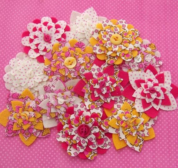 Fruity Florals Bouquet - Fabric and Felt Flower Embellishments