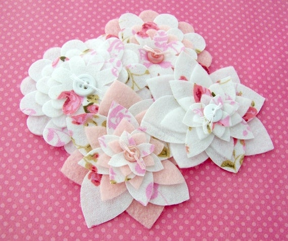 Pink and White Floral - Fabric and Felt Flower Embellishments