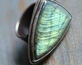Caprica Ring, Spectrolite & Recycled Sterling Silver