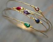 Gemstone Bangle Bracelet 14kt Gold Fill