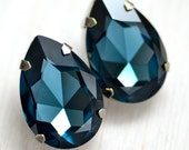 Vintage Glam Bridal Earrings - Sapphire Blue Swarovski Crystals - Sterling Silver Posts