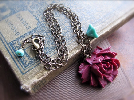 Raspberry Rose Necklace