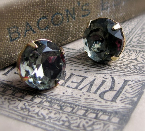 Black Stars, POST Rhinestone Earrings