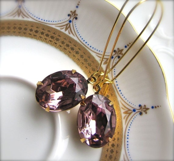 Hollywood Glam Estate Style Earrings In Amethyst Purple