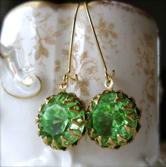 Verdant (Earrings with Faceted Estate Style Jewels)