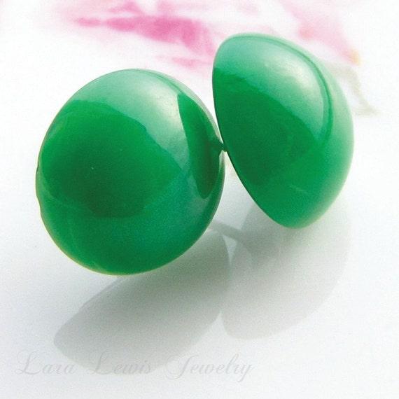 Vintage Jade Glass Polka Dot Earrings, Swarovski