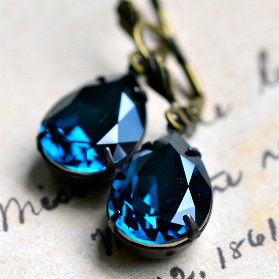 Christmas in July SALE - Sapphire Blue Swarovski Crystal Earrings -- Antique Brass