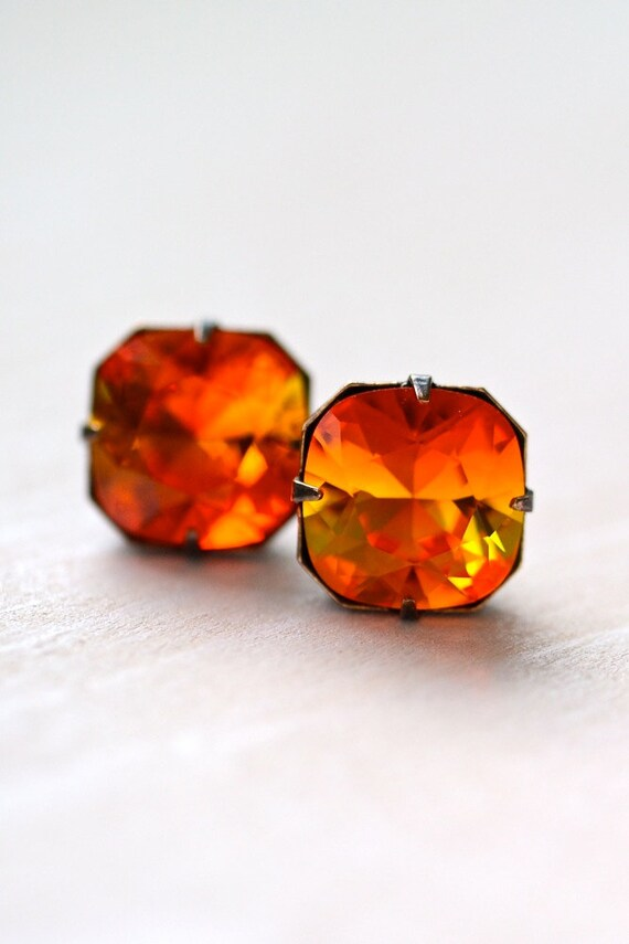 Mexican Fire Opal Stud Earrings, Old Hollywood Jewelry, Bridal Jewelry, Retro Jewelry, Vintage Style Jewelry, Sparkly Earrings