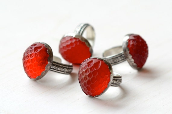 Strawberry Ring Sterling Silver, Vintage Glass