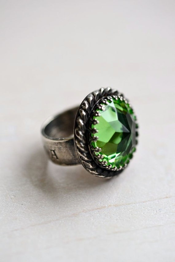 Ophelia Ring - Vintage Green Glass - Recycled Sterling Silver