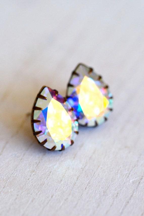 Aurora Borealis Post Crystal Earrings Sterling Silver - Etoiles