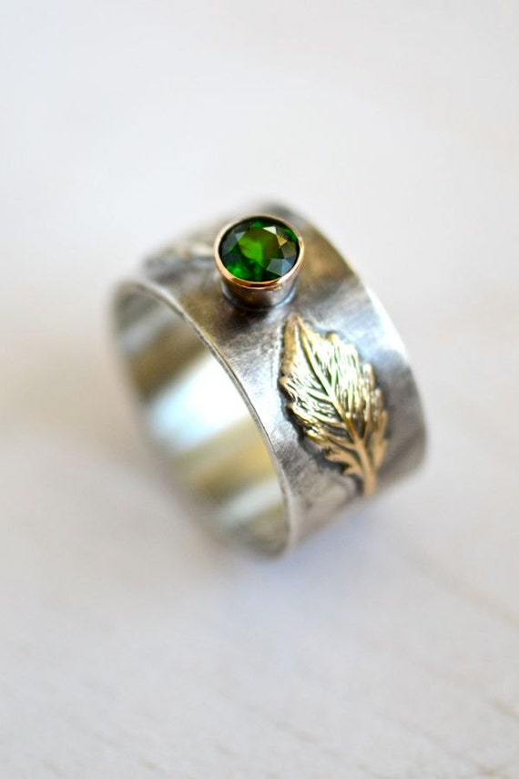 Fair Trade Diopside Recycled Gold Silver Ring, Fairy Queen