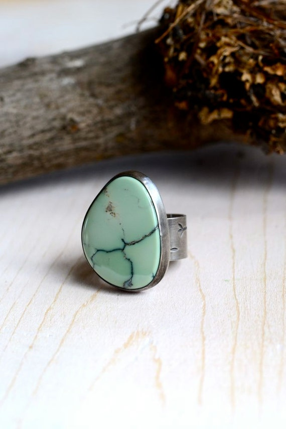 Variscite and Sterling Silver Songbird Ring, HOME