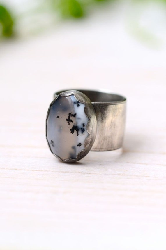 Merlinite Recycled Sterling Silver Ring, Dendritic Opal, Tendrils No. 3