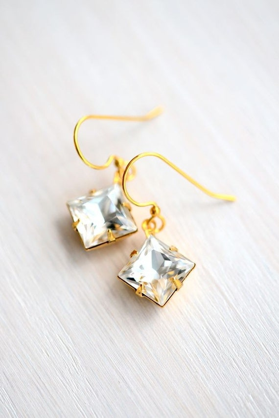 Princess Cut Swarovski Crystal Bridal Earrings Gold