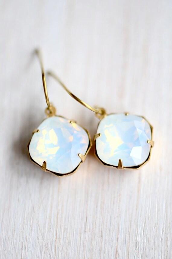 Moonstone Earrings, Swarovski Crystal Earrings, Nickel Free, Brass