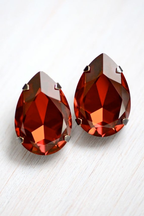 Ultimate Glam Extra LARGE Red Magma Swarovski Crystal Earrings - Bridal - Weddings - Special Event