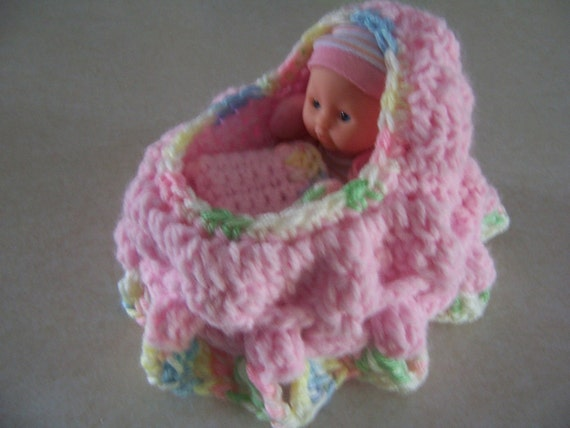 Crocheted Cradle Purse Baby - Light Pink with Pastel Color Trims