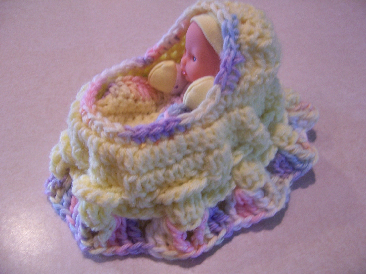 Crochet Bag Pattern Cotton : Crocheted Cradle Purse with Doll and Blanket Yellow