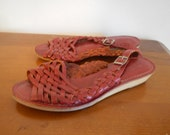 Red Woven Leather Sandals 6