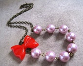 Red Ribbon Necklace