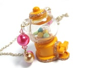 Sugary Sweets Bear Glittery Gumball Machine with swarovski crystal necklace