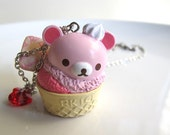 Kawaii Strawberry Cherry Pink Bear Ice Cream Cone Dessert Cup and whip toppings swarovski crystal Pendant necklace