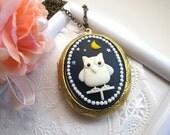 Hoot Hoot Lucky Owl Moon Starry Night huge brass locket Long Necklace. Locket necklace. Brass locket. Great simple gift