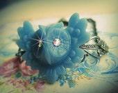 Victorian Blue Bright Eyes Owl Bracelet