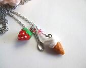 Ice Cream Strawberry Spoon and Swarovski crystal necklace