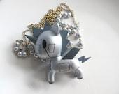 Kawaii Wonderland Unicorno in Metallo 3D Pendant Swarovski Crystals 14k Gold Plated Chain Necklace Japanese harajuku chunky style neckkace