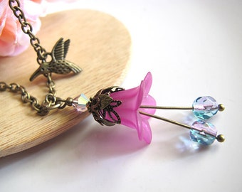 Spring Summer Nature Love Hummingbird and Purple Lily with Swarovski Crystal Dual Toned Czech glass Necklace