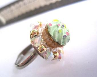 Kawaii Cute Green Cupcake Ring. Rhodium Plated Swarovski Crystal Ring. Birthday Gift. For Her Funky Ring