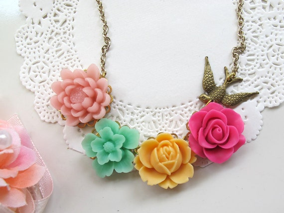 Lovely Spring Colourful Summer Garden. Sweet Nature Collection flower, swallow necklace