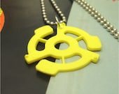 45 RPM Yellow  Record Adapter Pendant Necklace